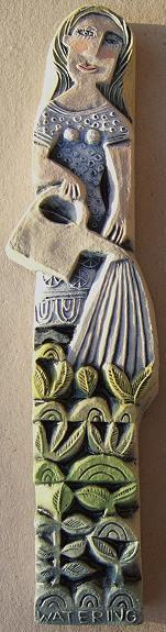 """""""Watering"""" by Hilke MacIntyre, ceramic relief"""