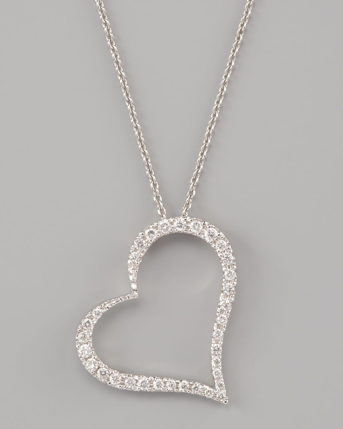Roberto Coin Pave Heart Necklace - Neiman Marcus