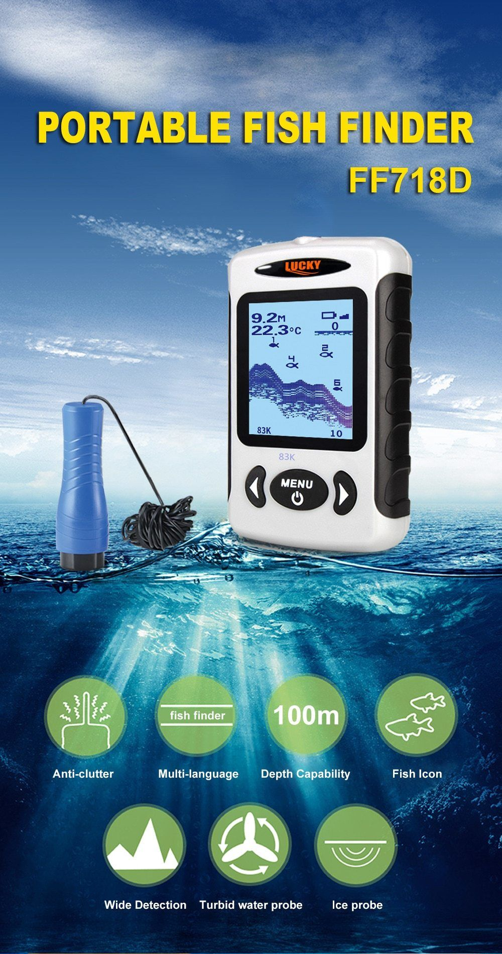Ff718d Ice Fishing Finders Sonar Echo Sounders Findfish