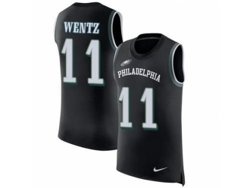 89577266bbe Men Nike Philadelphia Eagles #11 Carson Wentz Limited Black Rush Player Name  & Number Tank Top NFL Jersey