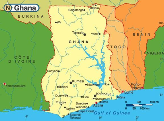 Map Of Ghana West Africa.Map Of Ghana And Its Neighbors In West Africa Ghana