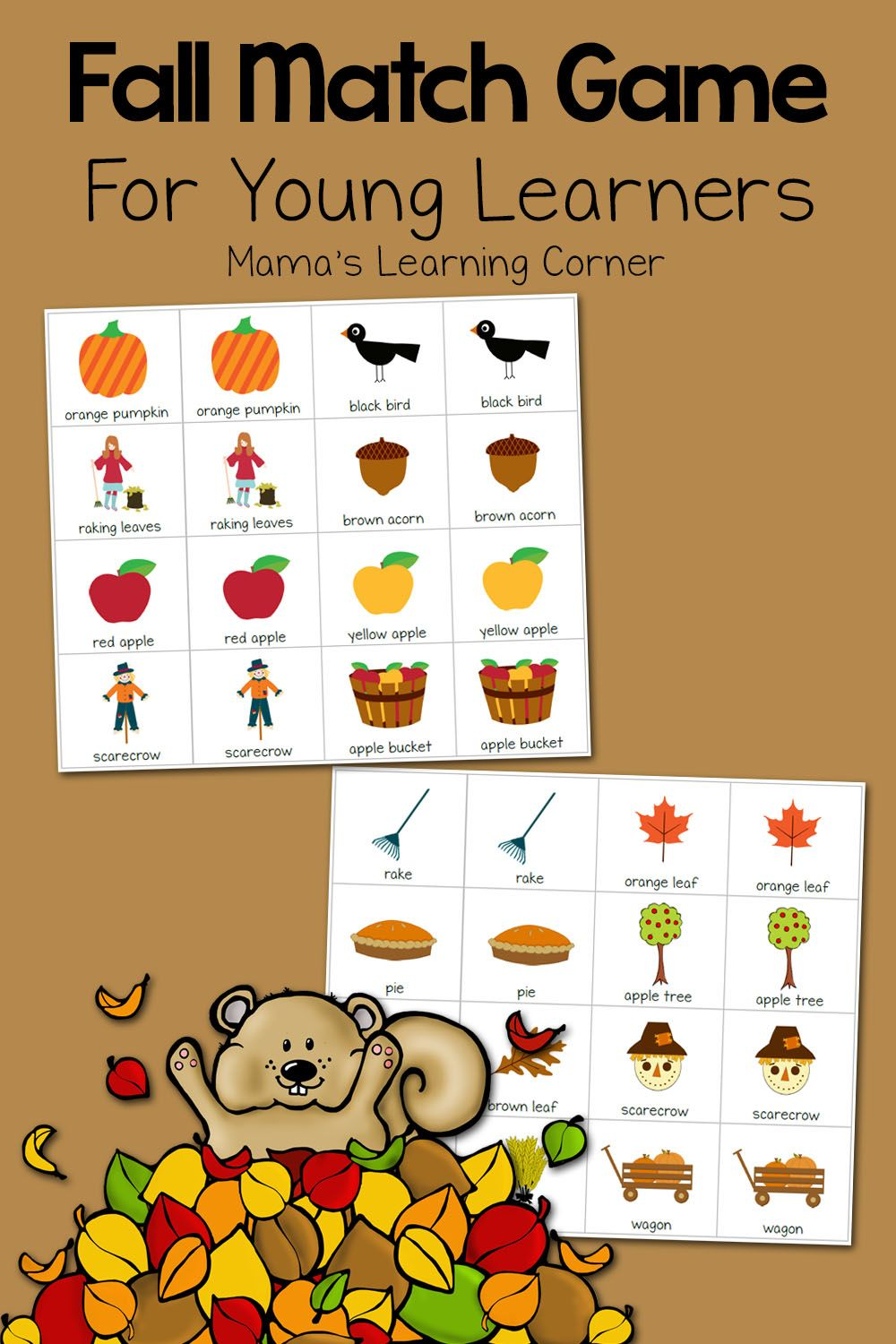 Printable Fall Match Game Fall preschool activities