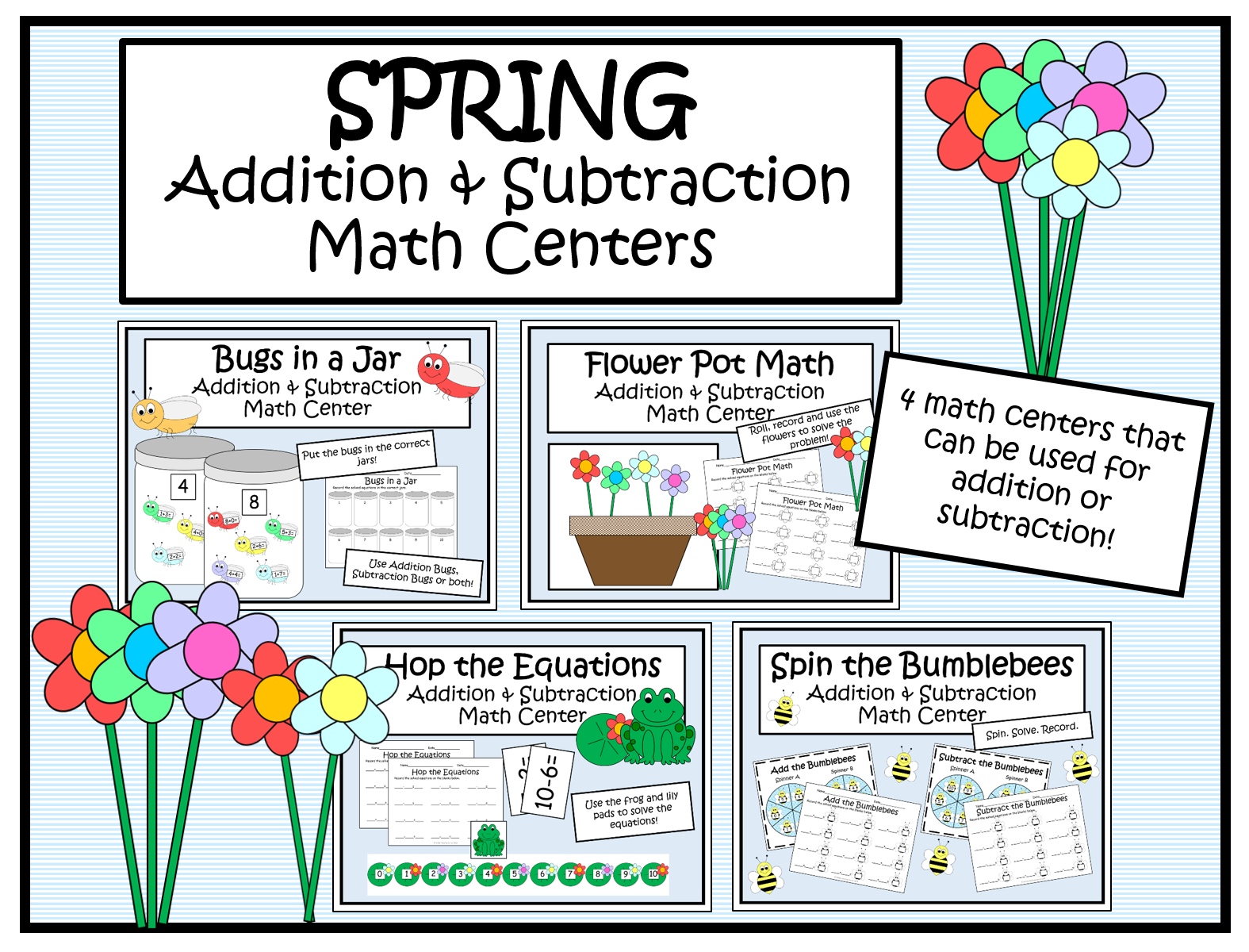 Spring Addition And Subtraction Math Centers