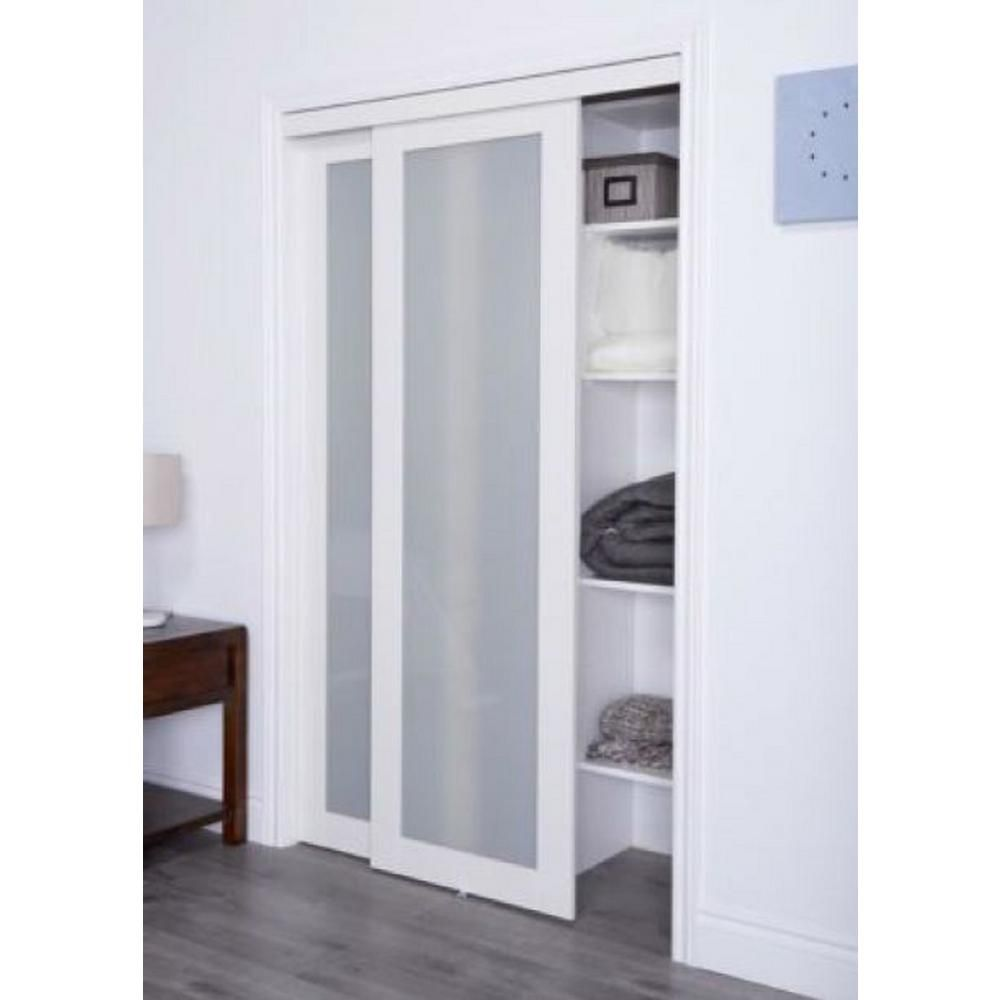Truporte 2010 Series 72 In X 80 In Composite Off White 1 Lite Tempered Frosted Glass Sliding Doo Glass Closet Doors Sliding Closet Doors Sliding Pantry Doors