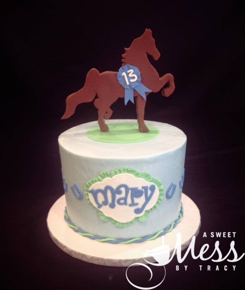 Simple Horse And Blue Ribbon Cake Birthday Cakes For Girls