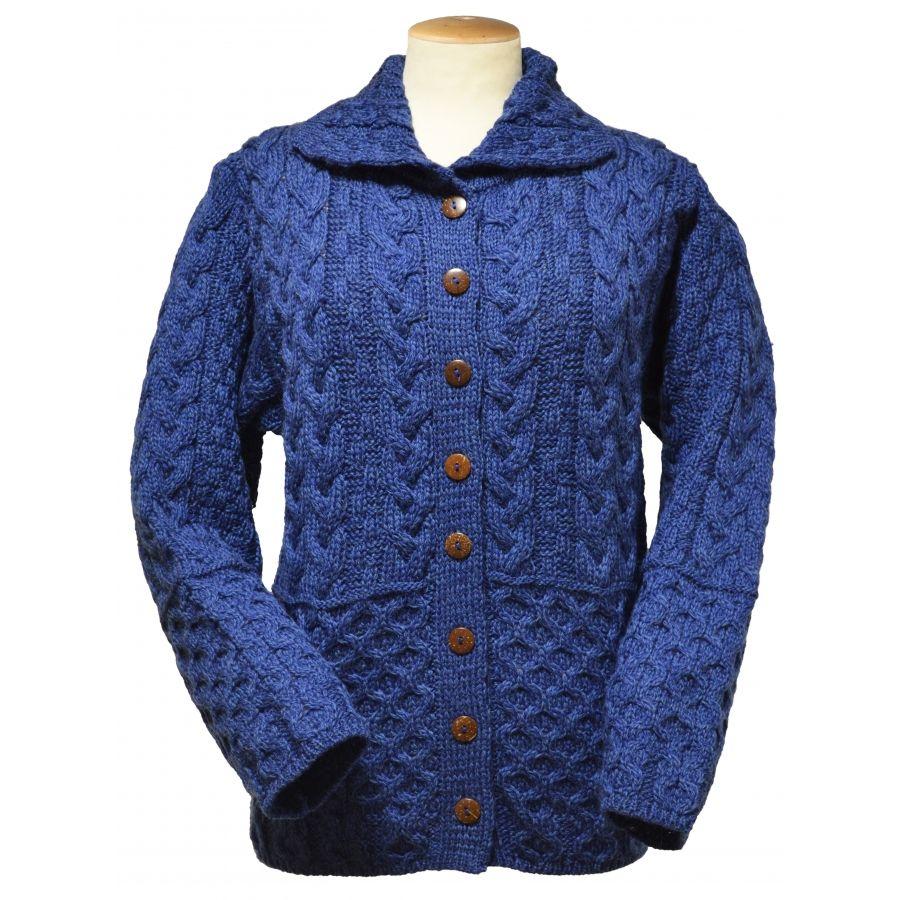 Ladies Aran Wool Cardigan, Wool Cardigan Sweater, Wool Cardigan ...