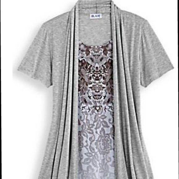 Blair Twinset Two In One Art Top Grey Gray Womens Medium M #Blair #Tunic #Casual