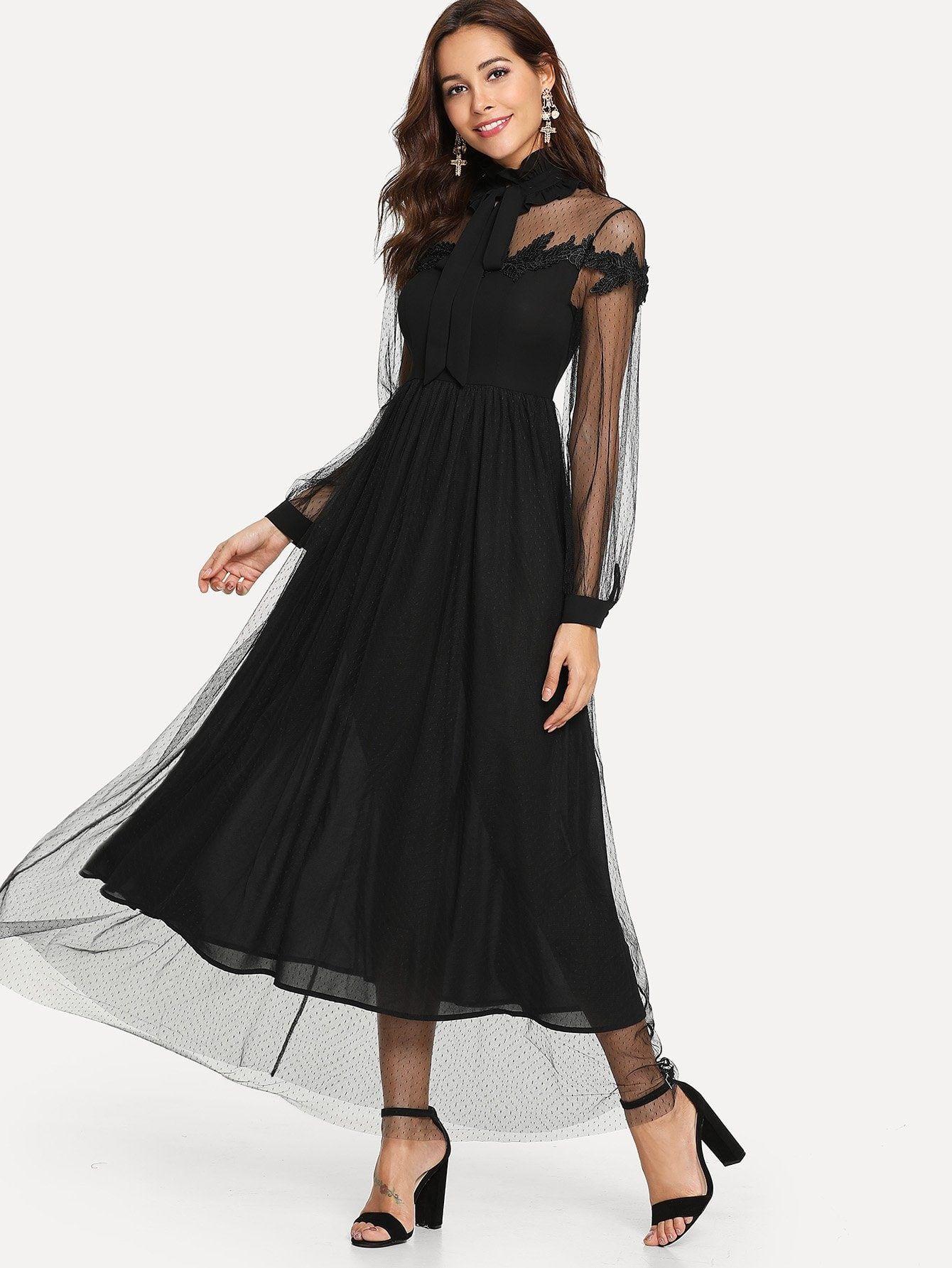 Lace Yoke Dobby Dress