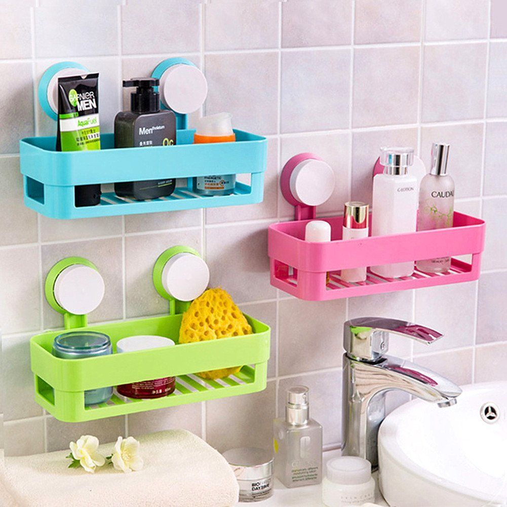 Crazysell Eco Friendly Plastic Multi Function Suction Cup Organizer Holding Shampoo Toothbrush Razor Shelf Baskets Storage Bathroom Wall Shelves Shower Shelves