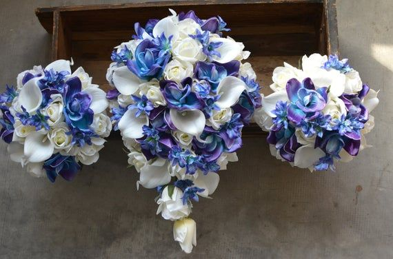 Blue Purple Orchids ivory Roses Bridal Bouquets Real Touch Flowers Calla Lilies Silk Wedding Bouquets Package #fantasticweddingbouquets