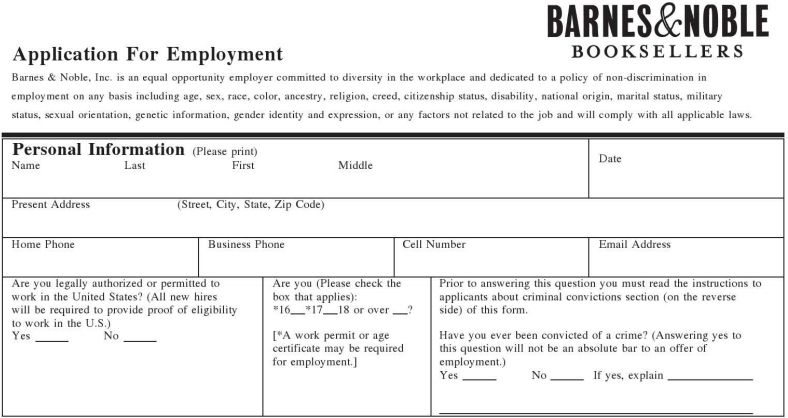 Barnes Amp Noble Inc Job Application Printable Job Employment