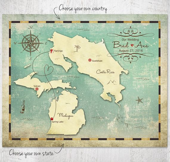 World Travel Map Wedding Guestbook Alternative Map Custom Wedding
