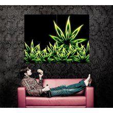 Xd7035 Cannabis Marijuana Weed Leaves Neon Art Huge Wall Poster #Bong #Pipe #Waterpipe #Stoner #Pot #Weed #Glasspipe #Teagardins #SmokeShop http://Teagardins.com