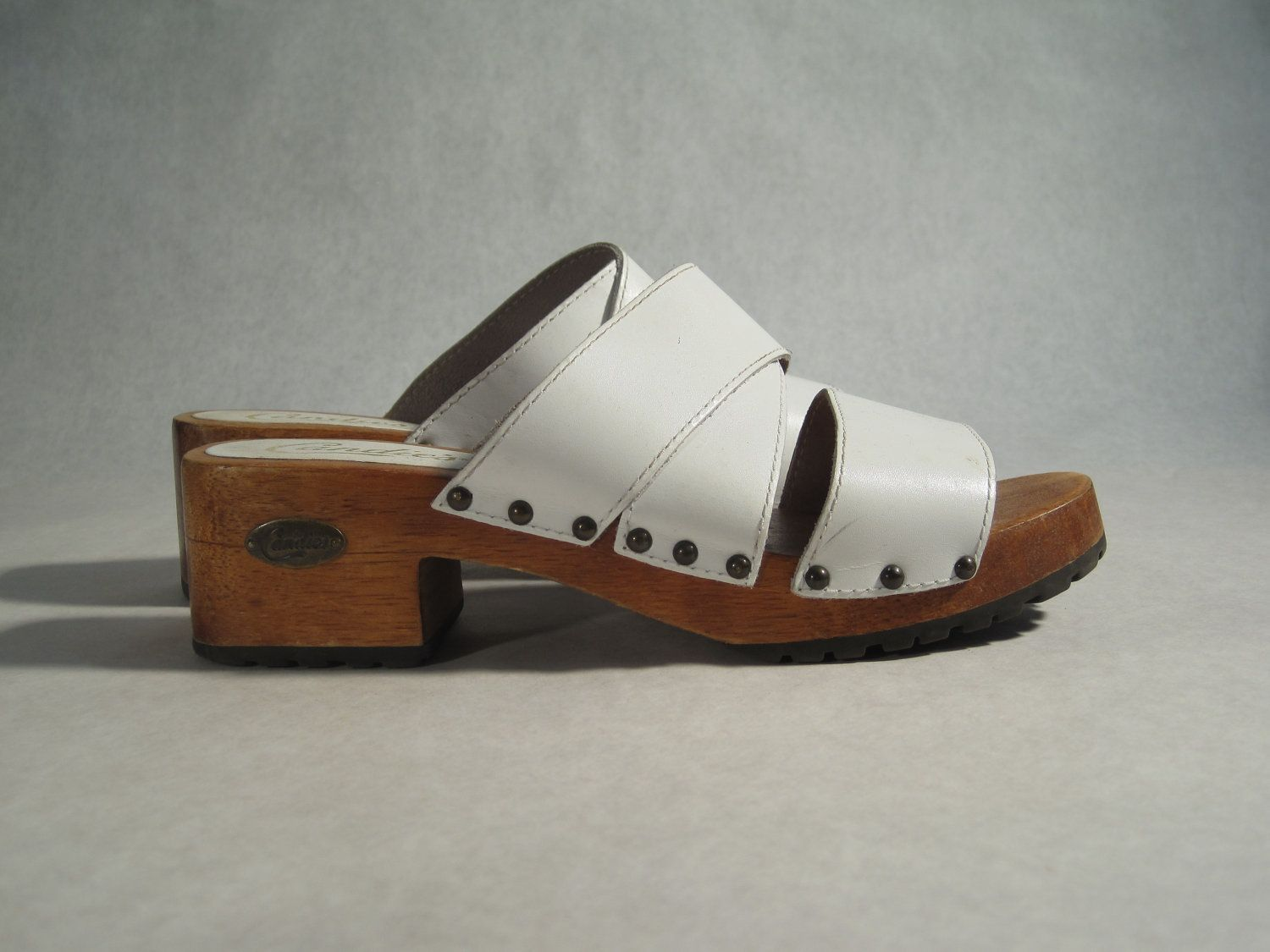 70s White Leather Brazilian Candies Studded Wood Clogs 85 Cloggin