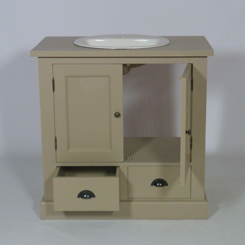 Salle De Bain Ceramique Imitation Bois ~ meuble salle de bain bois taupe 1 vasque 2 portes 2 tiroirs bas