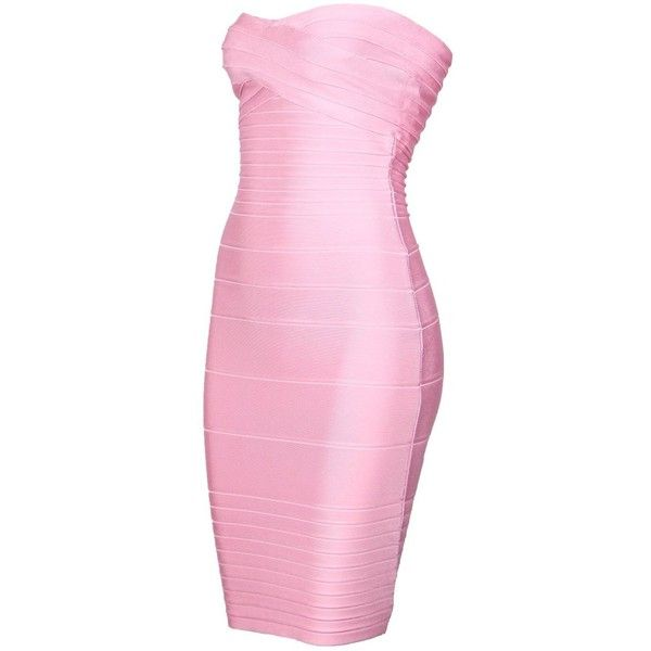 38aed33a0243f iFashion Women's Sexy Strapless Rayon Bodycon Party Bandage Mini Dress  ($34) ❤ liked on Polyvore featuring dresses, pink dress, cocktail party  dress, ...
