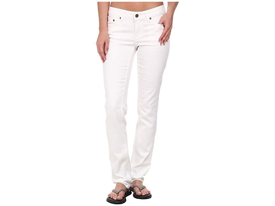 Prana Kara Jean White Womens Jeans Corner the market on cute with the Kara Jean Soft stretch denim fabric Fivepocket design Belt loop waistband Zipper fly and button clos...