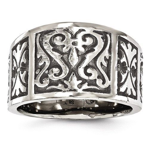Grey Titanium Wedding Band Ring Brushed Laser Design 8 mm Flat 8mm Laser Design Brushed Band