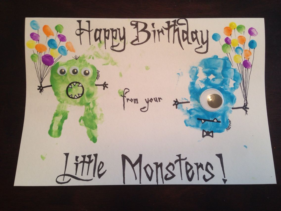 HapBee Birthday card with toddler footprint and googley eyes – Hungry Caterpillar Birthday Card