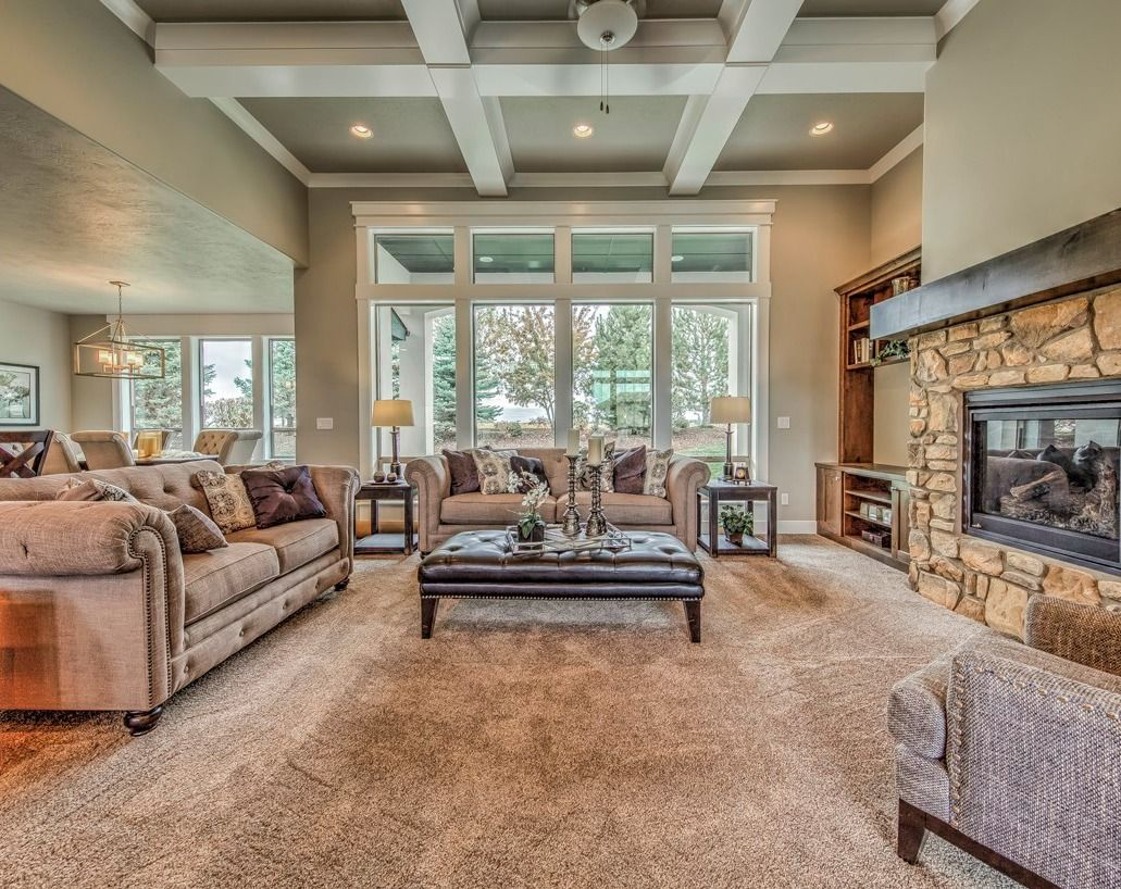 Modern Craftsman Living Room With 12 Ft Ceilings White Wood Beams And Stone Fireplace Great