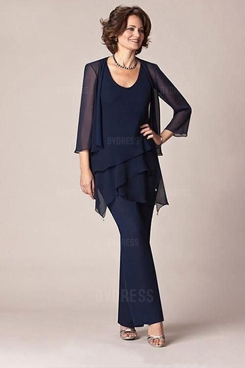 Pant Suits Scoop Ankle-length Chiffon Mother of the Bride Dress ...