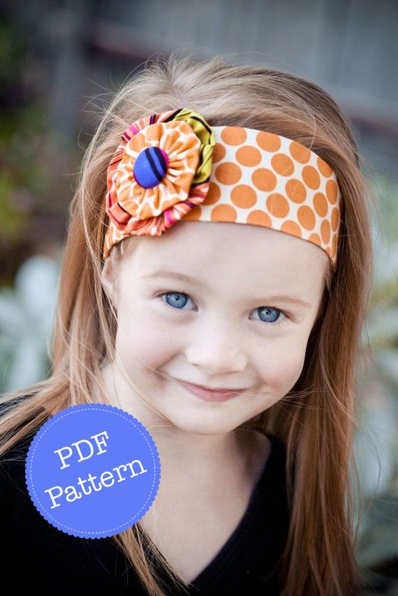 Headband Pattern. PDF Sewing Pattern and Tutorial for Funky Flower Headband, Reversible Cotton Fabric Head Band. Etsy.