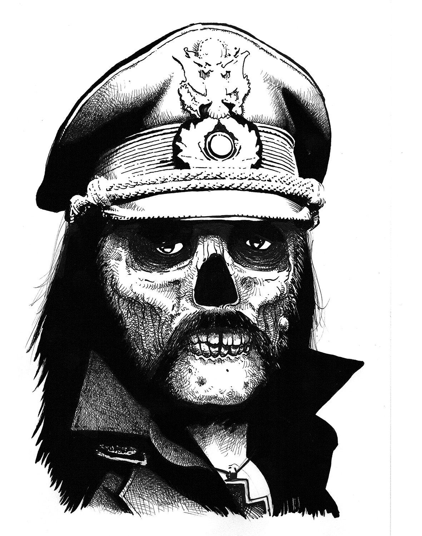 Badskullcompanyhe Lives Lemmykillmister Lemmy Motorhead Dessin