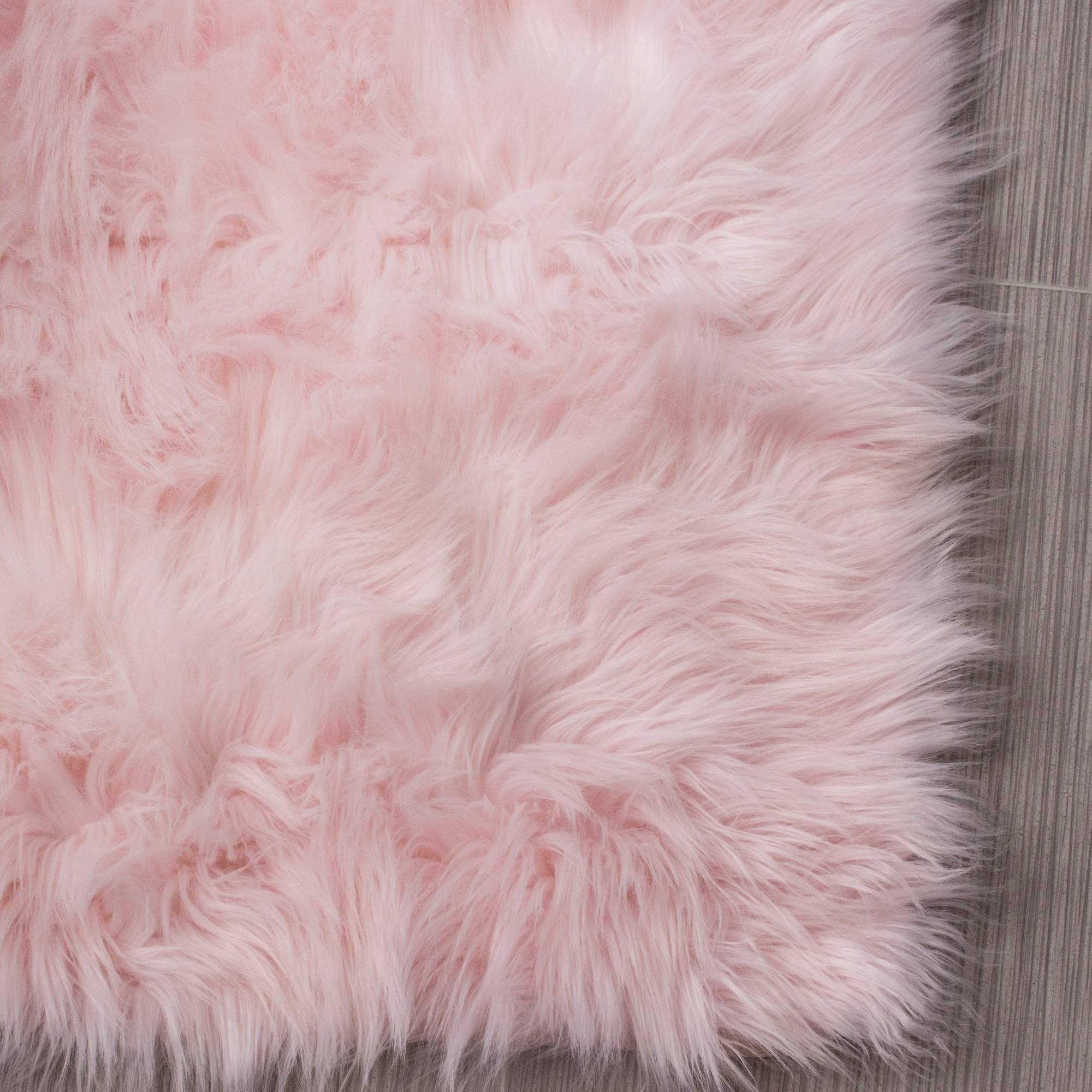 Faux Fur Shag Area Rug In Light Pink For Home Decor