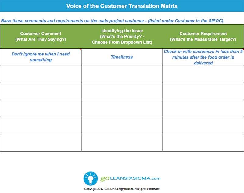 Voice of the Customer (VOC) Translation Matrix Template