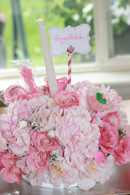 Floral Arrangement Birthday Cake Celebration Candy Bouquet Silk