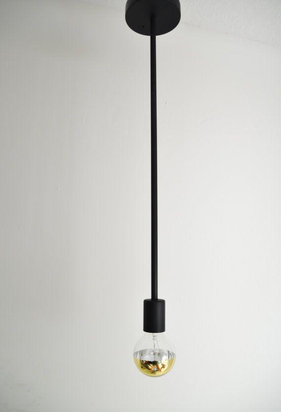 Stem - Modern single rod black light fixture. Simple hanging pendant ...