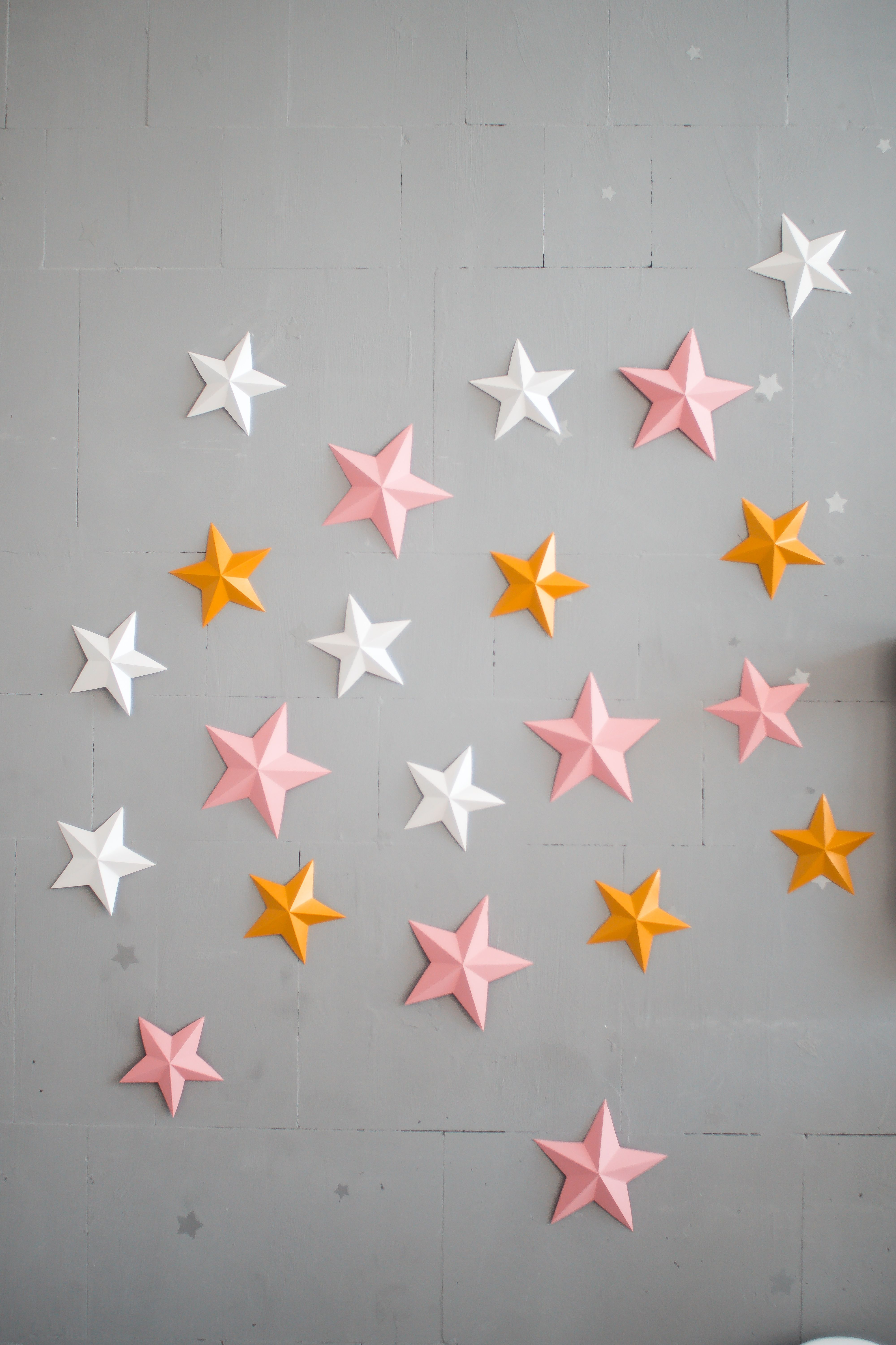 Twinkle Twinkle Little Star 3d Paper Stars Pink Gold Wall Decoration Pink Nursery Decor Baby Room Stars Decor