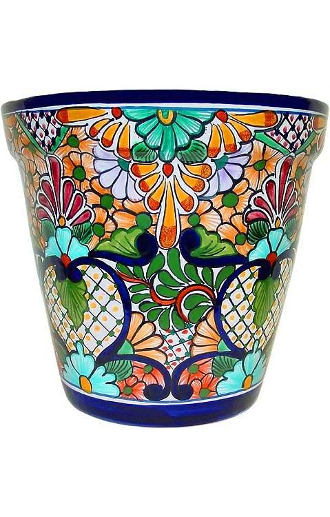Talavera Planter Mexico Painted Flower Pots