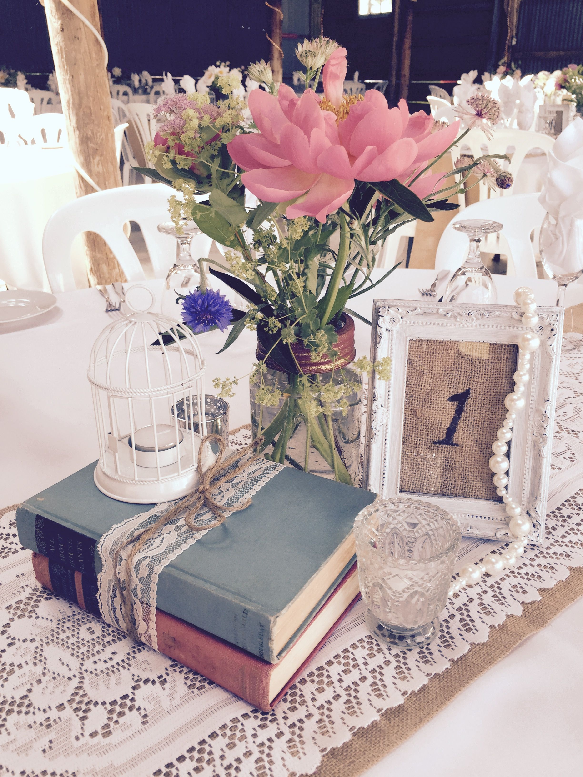Burlap And Lace Mason Jar Wedding Centrepiece Rustic