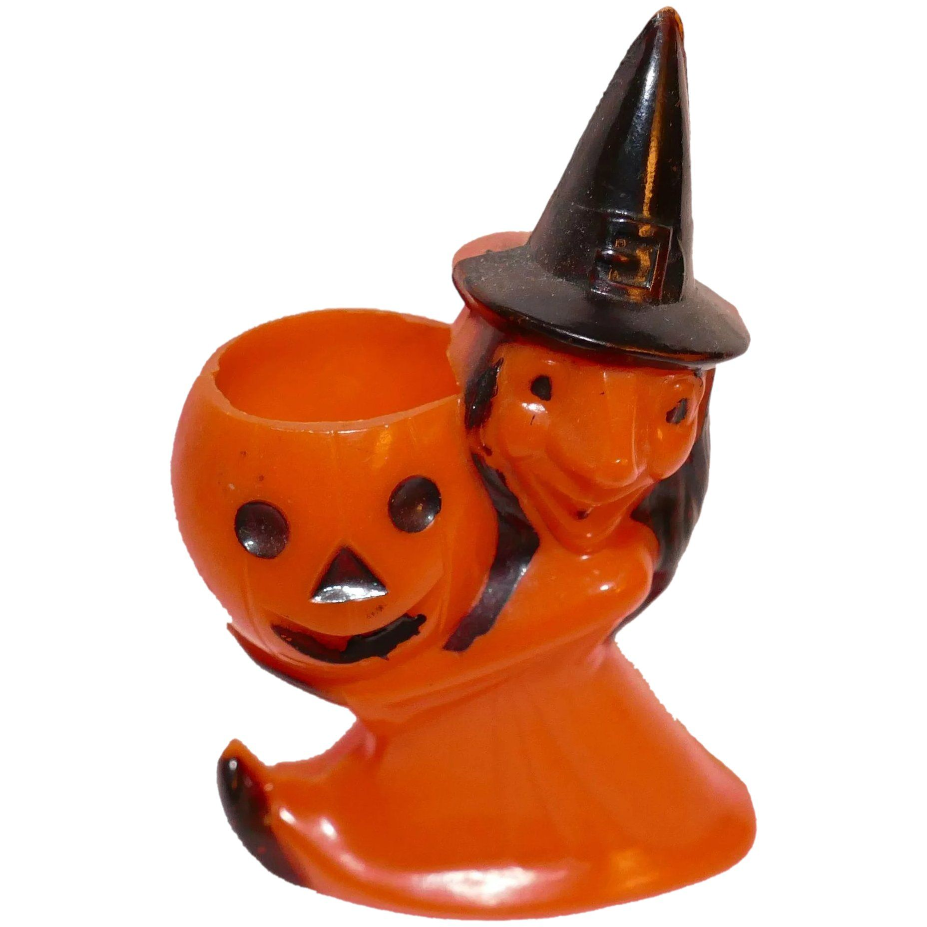 Rosbro Plastic Witch and Pumpkin Vintage Halloween Candy