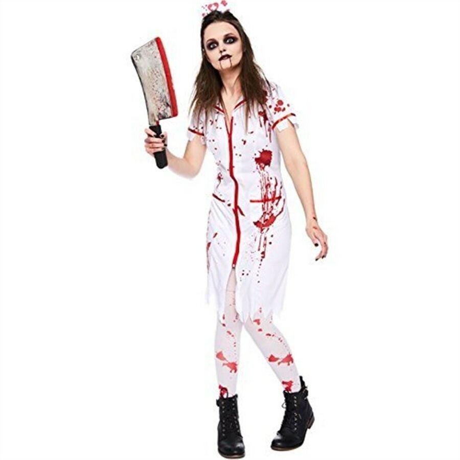 LADIES BLOODY NURSE FANCY DRESS COSTUME ADULT WOMENS HALLOWEEN ZOMBIE KIT