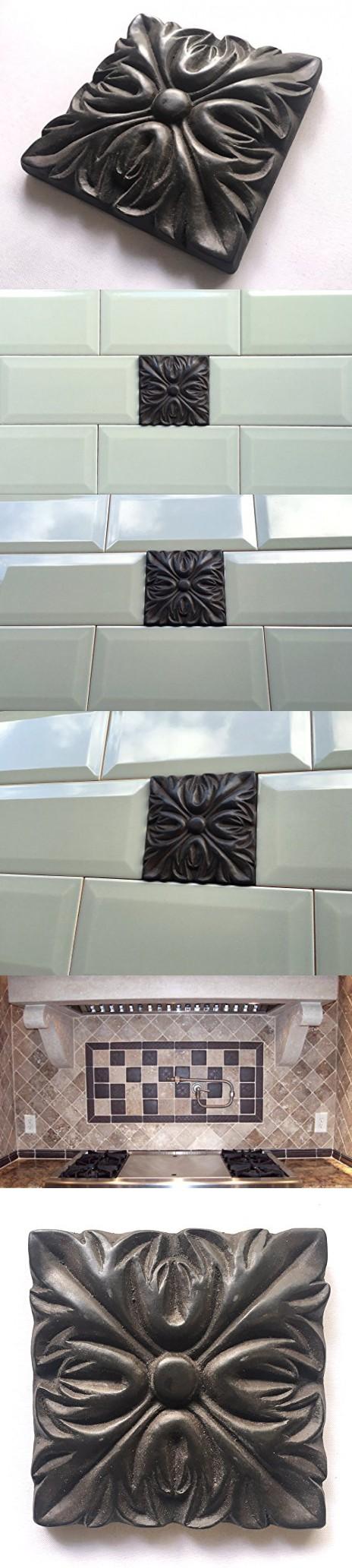 Decorative Tile Accent Pieces Silver Rust 4X4 Resin Decorative Insert Accent Piece Tile  Accent
