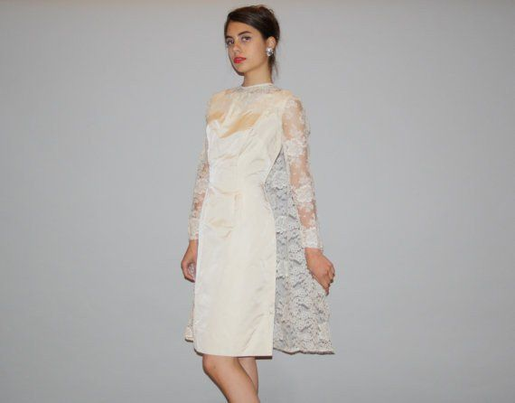 1960s Vintage Illusion Lace Sleeve Short Wiggle Wedding Dress With Cape