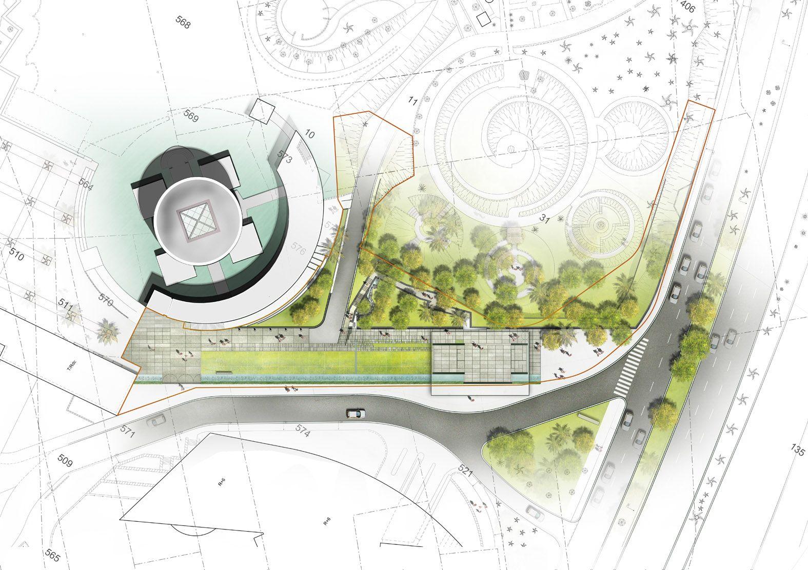 Am nagement du parvis du mus e des arts asiatiques nice for Plan masse architecture