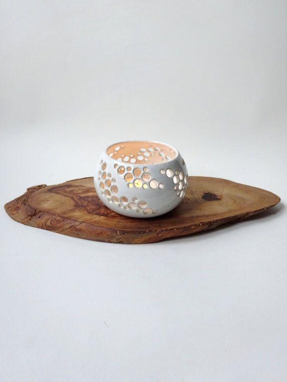White Candle Holder Handmade Ceramic Tea Light With Holes