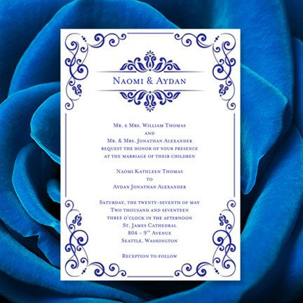 Wedding Invitation Template Julia Royal Blue Printable Word Doc