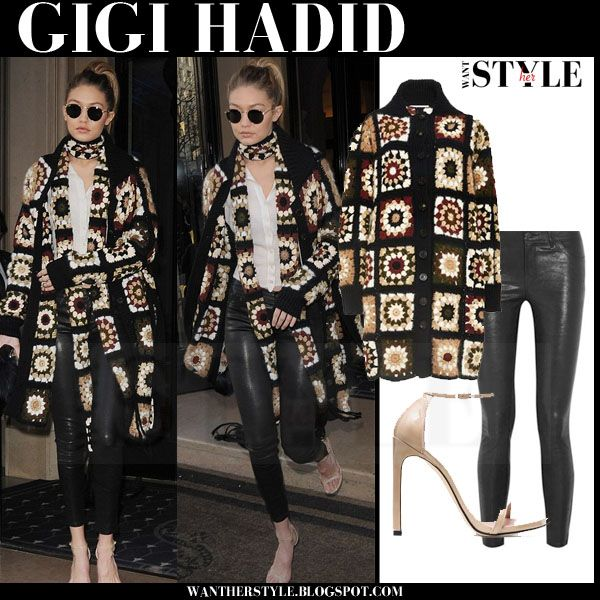 Gigi Hadid in crochet mixed media long cardigan and black leather pants