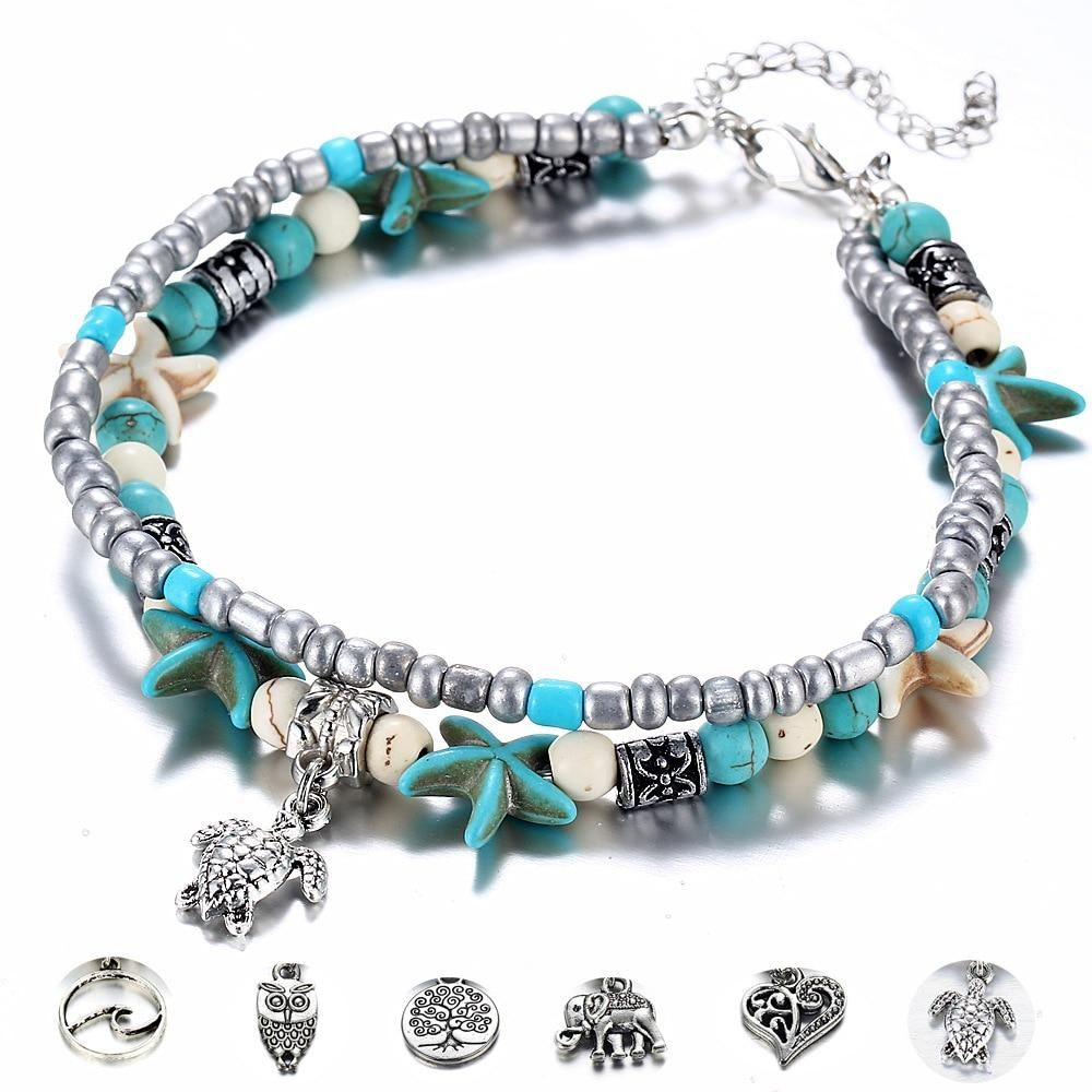 Fashion Double Layer Anklet for Fashionistas. Gift for Best Friend, Wife, Mom, Aunties, Daughters. Anklet Jewelry with Animal Pendants Gallery