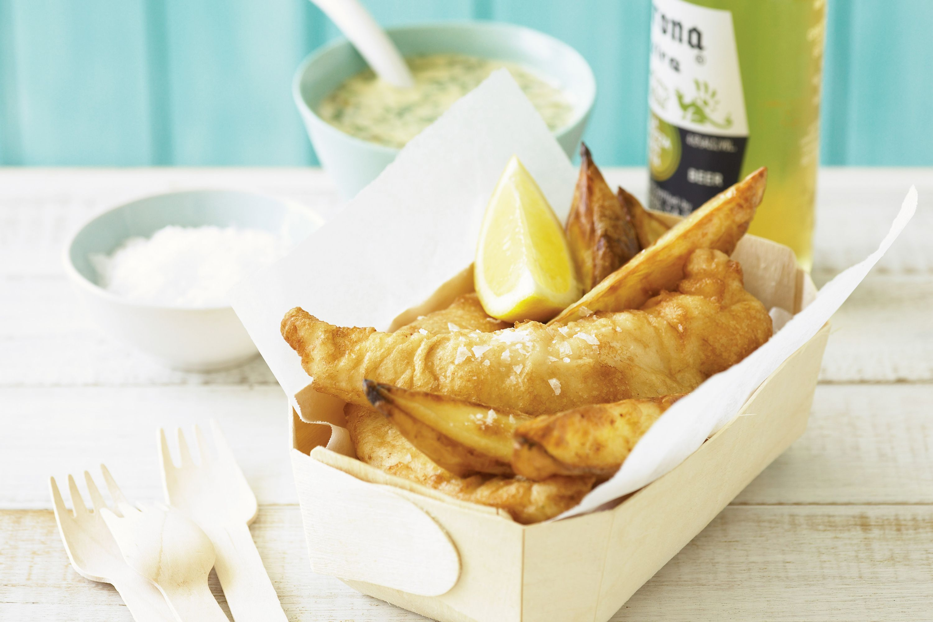 Beer-battered fish and chips http://www.taste.com.au/recipes/1960/beer+battered+fish+and+chips
