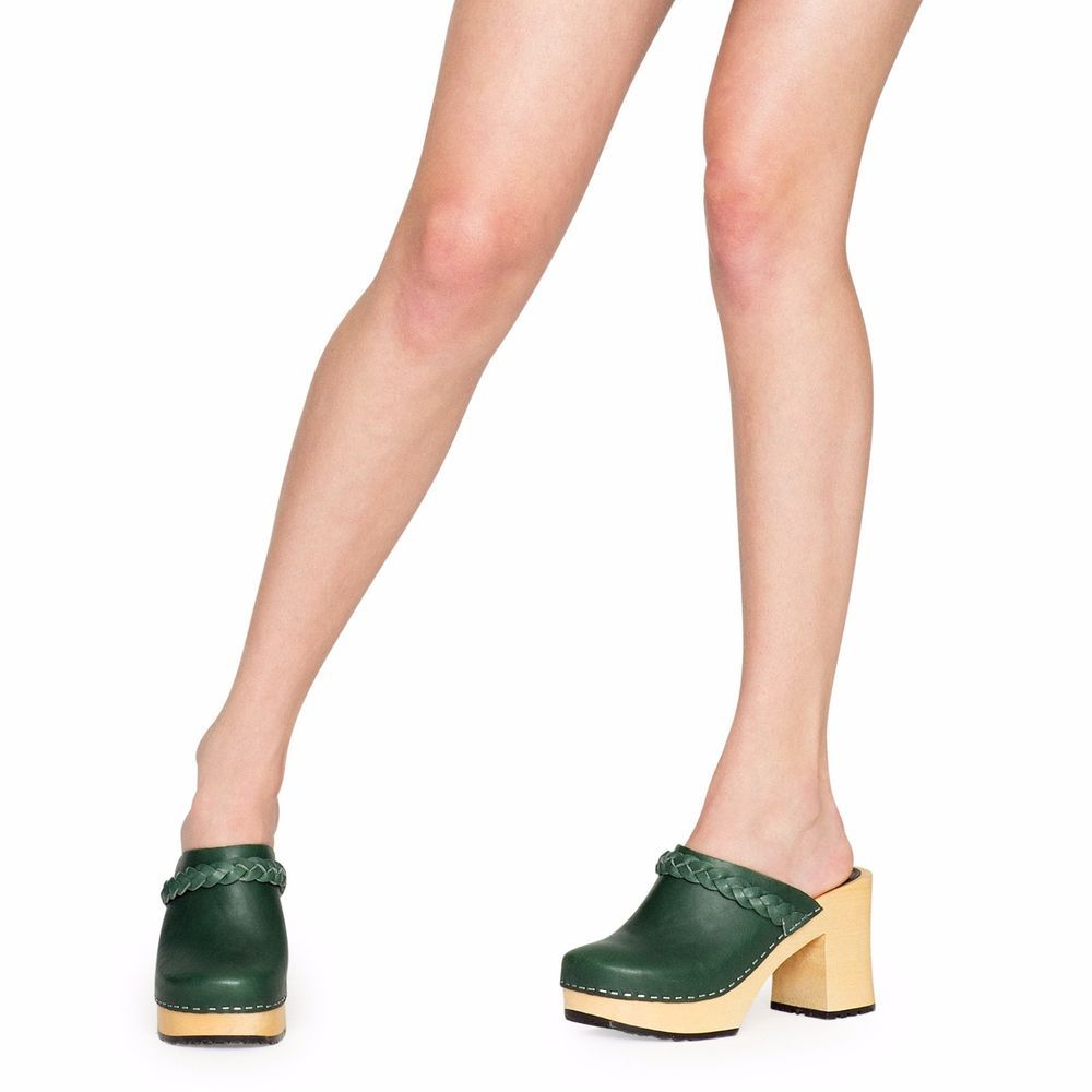 SWEDISH HASBEENS SHOES LAILA CLOGS DEEP GREEN MULES SLIP ON HEELS 39 NEW.  Online OutletSummer SaleShoes ...