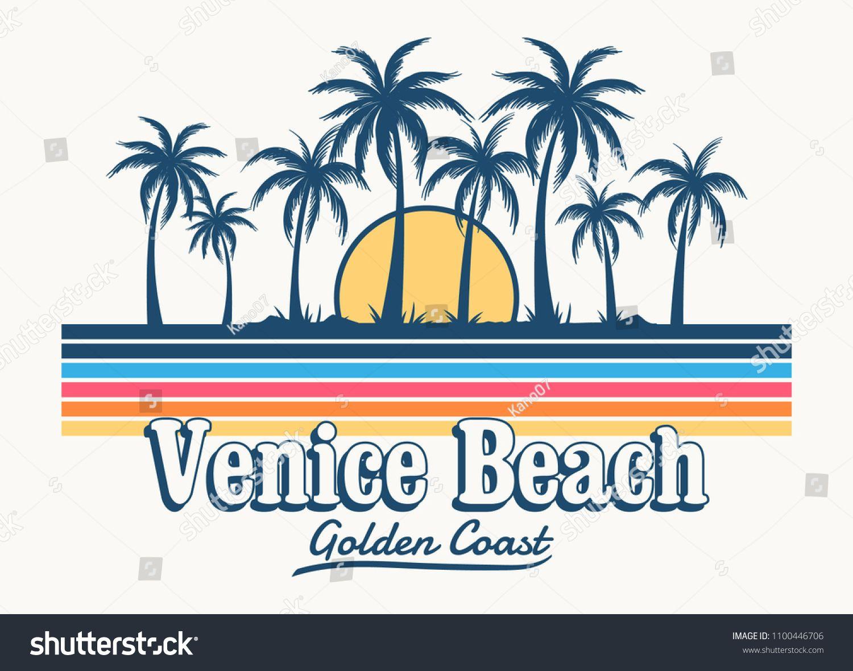Venice Beach Theme Vintage Print Design For T Shirt Pritnt And Othere Usestheme Vintage Venice Beach Beach Illustration Venice Beach Beach Posters