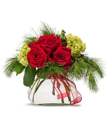 Season's Greetings Christmas flower arrangements