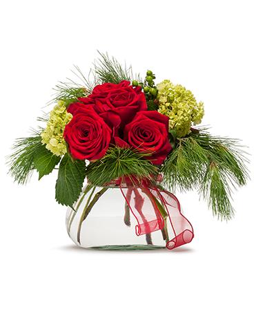 Season's Greetings Christmas flower arrangements