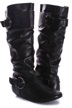 be58fbb079af BLACK FAUX LEATHER SLOUCH BUCKLE MID CALF FLAT BOOTS | 1st Board ...