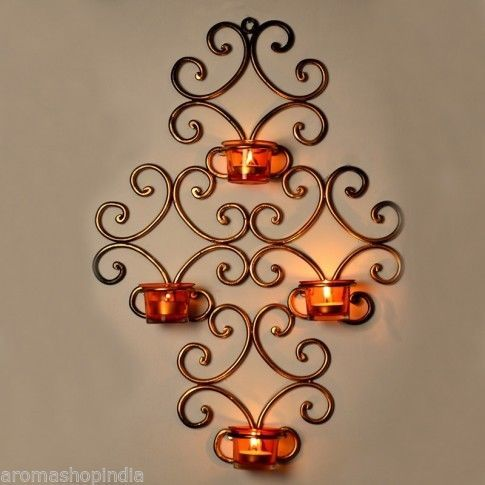 Tealight Candle Holder Wall Decor Metal Frame With 4 Glass
